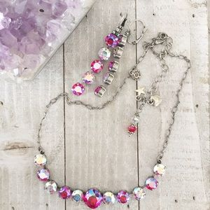 Pink Swarovski Crystal Necklace & Earrings